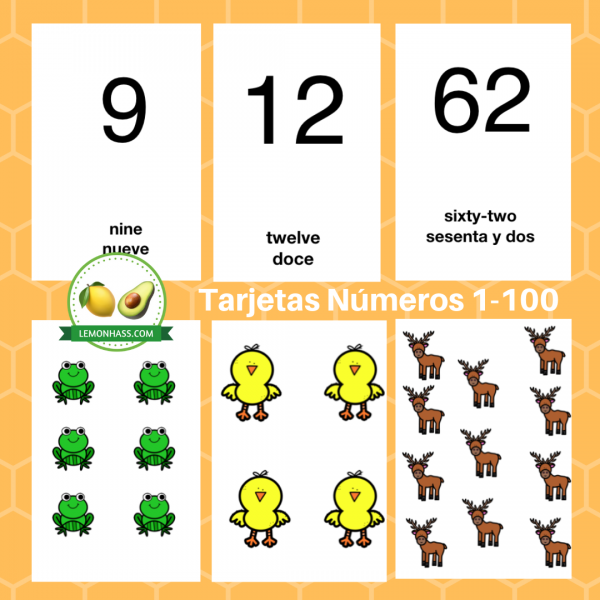 Tarjetas Numeros 1-100, Lemonhass, preescolar, kinder